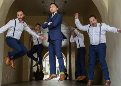 groom suspended in the air