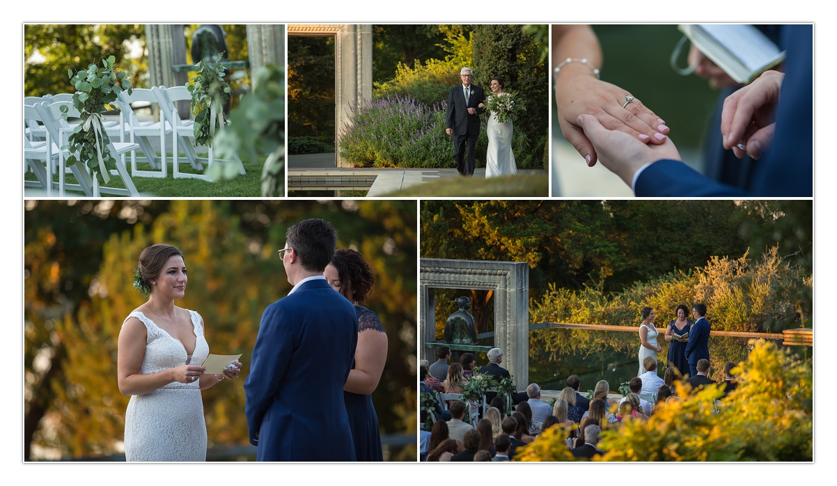 a beautiful fall wedding at the Dallas arboretum with scenery