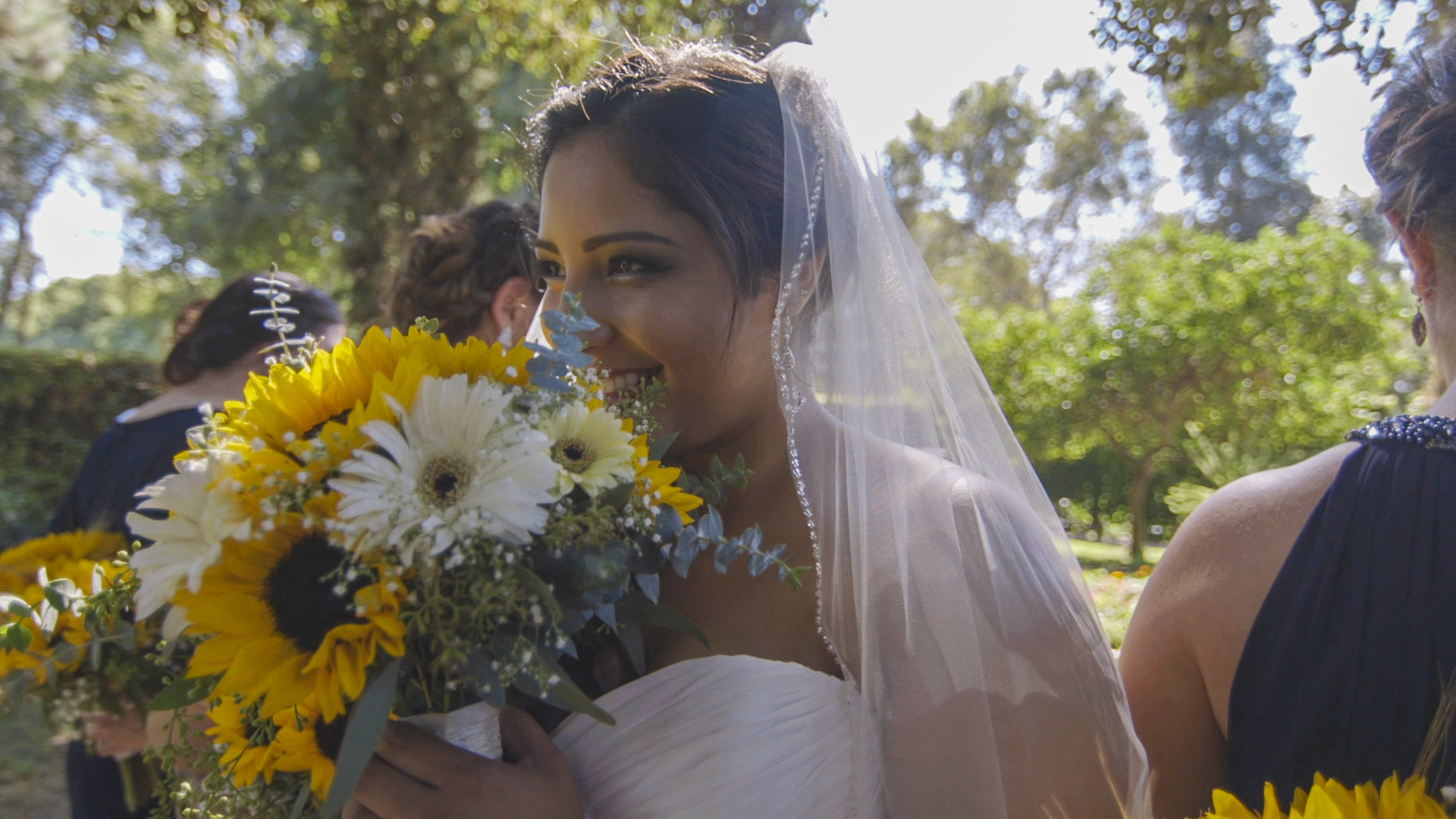 Orange county wedding location, outdoor wedding photography, wedding videography, sunflower, bouquet